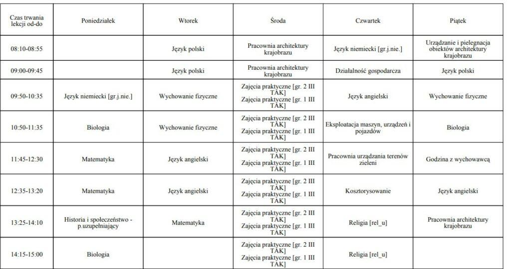 plan lekcji klasa III TAK
