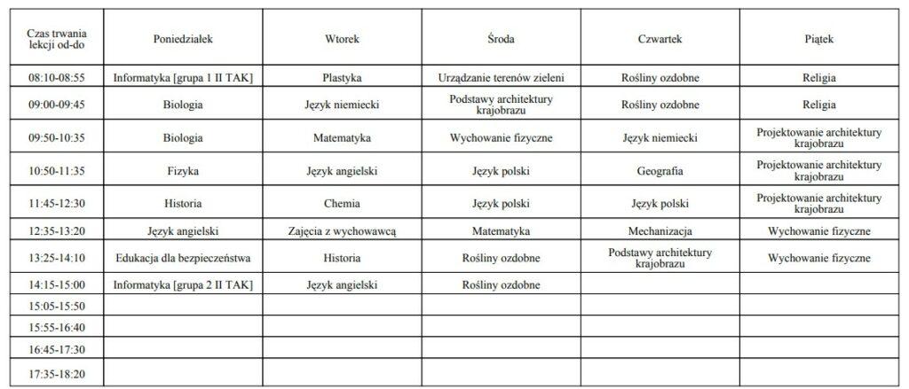 plan lekcji klasa I TAK