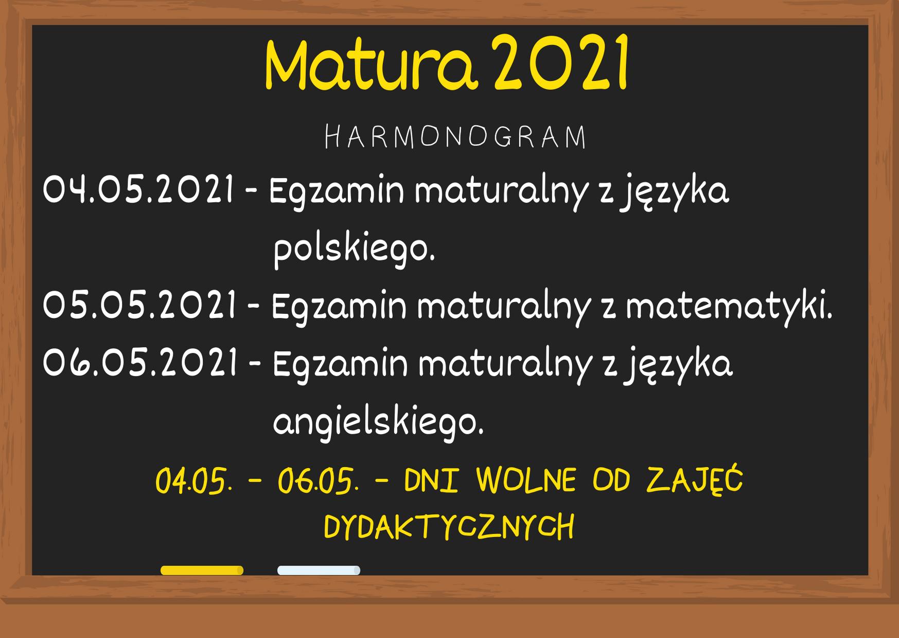 Matura 2021. Harmonogram